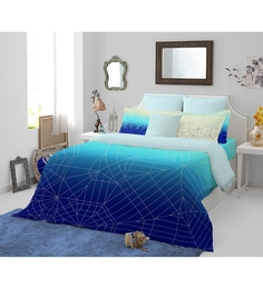Spaces Blue Cotton King Size Bohochic Bedsheet - Set of 5