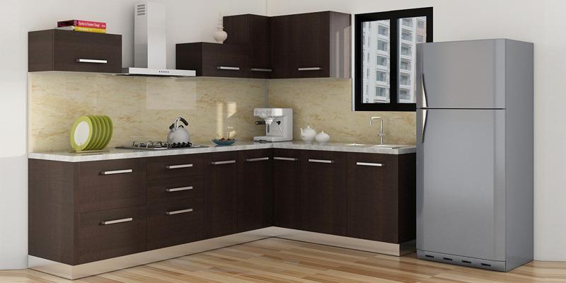 Spacewood l shape kitchen in hdmr hpl finish in oak color for Kitchen set hpl