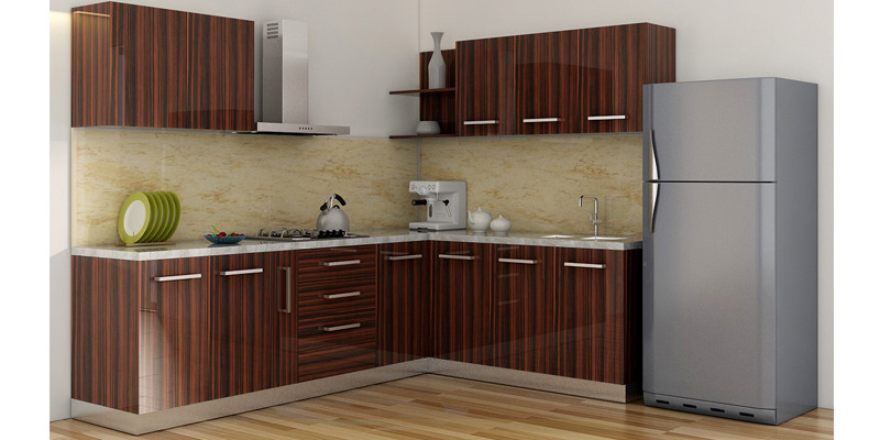 Buy Spacewood L Shape Kitchen In Ply Acrylic Finish In