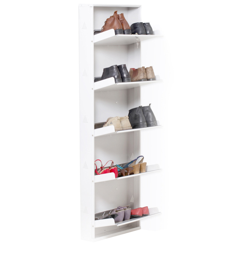 space saving wall mounted five shelf shoe rack in white. Black Bedroom Furniture Sets. Home Design Ideas