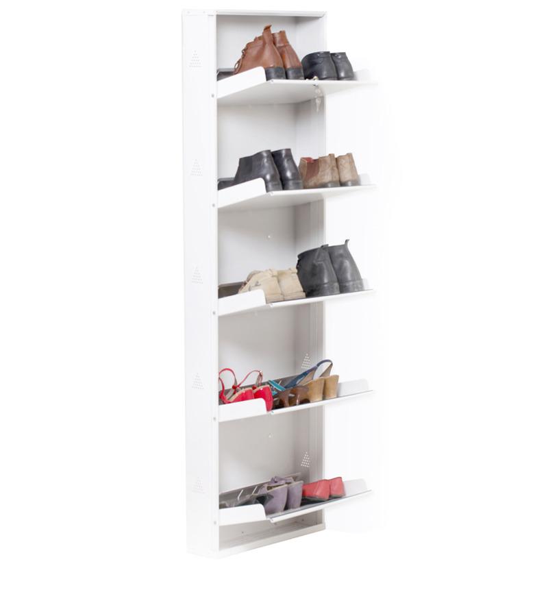 Space Saving Wall Mounted Five Shelf Shoe Rack In White