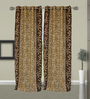 Welhome Brown And Cream Polyester 48 x 84 Inch Floral Door Curtain