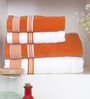 Spaces Orange & White Four-piece Bath Towel Set
