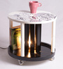 Spool Floral Hand Painted Table with In-built Lamp by Desi Jugaad