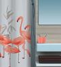 Spirella Flamingoes Orange Polyester Shower Curtain