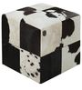 Square Leather Pouffe in Black and White Colour by SWHF