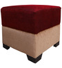 Square Pouffe in Red & Beige Colour by RVF