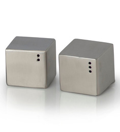 SS Silverware Stainless Steel 60 ML Square Salt and Pepper Storage - Set of 2