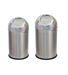 SS Silverware Stainless Steel Push Dustbin - Set of Two