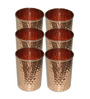 SS Silverware Ayurvedic Health Benefits Stainless Steel With Copper Coating 280 ML Hammered Tumbler - Set Of 6