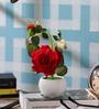 SS Silverware Multicolour Porcelain Artificial Rose Flowers with White Apple Shape Flower Pot