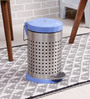 SS Silverware Perforated Blue 5 L Pedal Dustbin with Lid