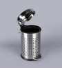SS Silverware Perforated Silver 5 L Pedal Dustbin with Domb Design Lid