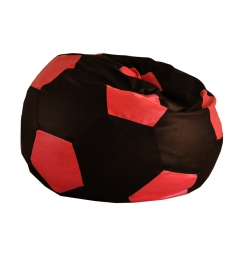 Style HomeZ Chocolate Brown N Red XXL Patched Football Bean Bag Cover (Without Beans)