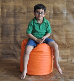 Style HomeZ Orange L-Size Round Ottoman Bean Bag