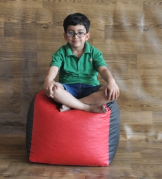 Style HomeZ Red/Black L-Size Round Ottoman Bean Bag Cover (Without Beans)