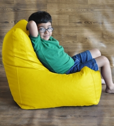 Style HomeZ Yellow L-Size Chair Shaped Bean Bag Cover (Without Beans)