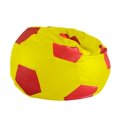 Style HomeZ Yellow N Red XXL Patched Football Bean Bag Cover (Without Beans)