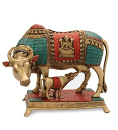 Statue Studio Multicolour Brass Cow N Calf Showpiece