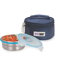Steel Lock Airtight 1 Pc Lunch Meal Tiffin Box With Insulated Bag