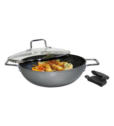 Stoneline  Stone Coated Non-Stick Aluminium 5700 ML Wok With Glass Lid