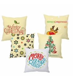 Stybuzz Beige 100 % Polyester 16 X 16 Inch Merry Christmas - Set Of 5 Cushion Cover