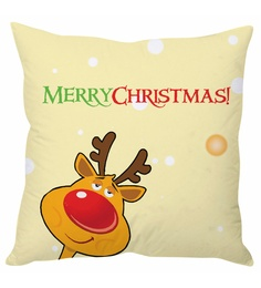 Stybuzz Beige 100 % Polyester 16 X 16 Inch Merry Christmas Beige Cushion Cover