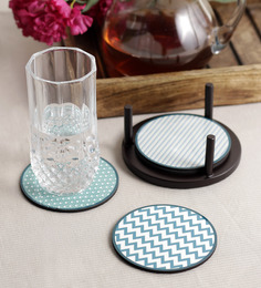 Stybuzz Blue Aztac Multicolour MDF Round Coasters - Set Of 4