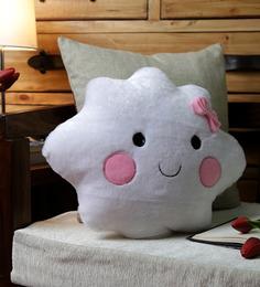Stybuzz White Velvet 16 X 16 Inch Cloud Girl Cushion