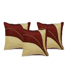 Stybuzz Red Dupioni Cushion Cover - Set Of 3