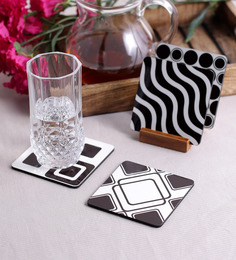 Stybuzz Multipattern Multicolour MDF Square Coasters - Set Of 4