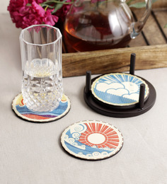 Stybuzz Paint Art Multicolour MDF Round Coasters - Set Of 4