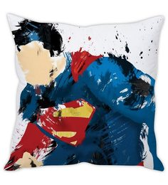 Stybuzz White Silk 16 X 16 Inch Superman Sketch Cushion Cover