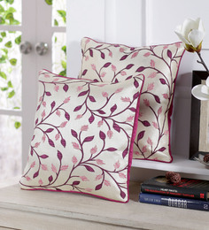 Stybuzz Wine And White Jute 16 X 16 Inch Embroidered Cushion Cover - Set Of 5