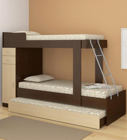 Mchannah Storage Bunk Bed With Trundle In Maple Tobacco By