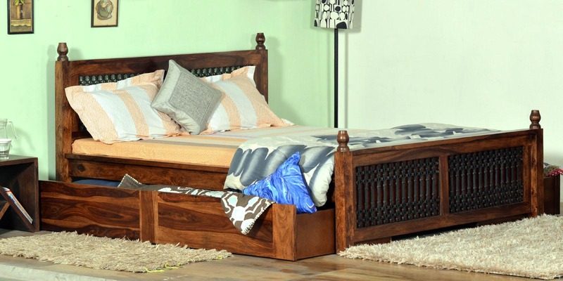 Douglas King Size Bed with Storage in Provincial Teak Finish by Amberville