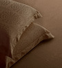 St. Cloud Brown Cotton Abstract King Bed Sheet (with Pillow Covers) - Set of 2
