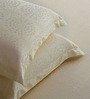 St. Cloud White Cotton Abstract King Bed Sheet (with Pillow Covers) - Set of 2