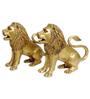 Statue Studio Golden Yellow Brass Lion Showpieces - Set of 2