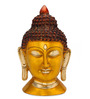 Statue Studio Yellow Brass 5 x 4 x 10 Inch Buddha Head Statue Showpiece