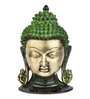 Statue Studio Golden Brass Buddha Head Wall Hanging Hand Carved Statue Showpiece