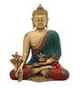 Statue Studio Multicolour Brass Buddha Sitting Stone Statue