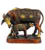 Statue Studio Bronze Brass Cow & Calf Pair Statue Showpiece