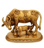 Statue Studio Golden Brass 8 x 5 x 7 Inch Cow N Calf Showpiece