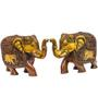 Statue Studio Brown Brass Cute Elephant Pair Intricate Carved Statue Showpiece
