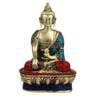 Statue Studio Multicolour Brass Stone Finish Buddha Stonework & Intricate Design Statue