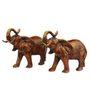 Statue Studio Red Brass Wild Elephant Showpiece - Set of 2