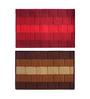 Status Red & Brown Delure 23 x 15 Inch Bricked Door Mat - Set of 2