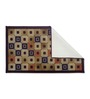 Status Brown Nylon 55 x 22 Inch Striped & Checkered Area Rug