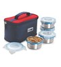 Steel Lock Airtight 4 pc 200 ml each Lunch Meal Tiffin Box with Insulated Bag